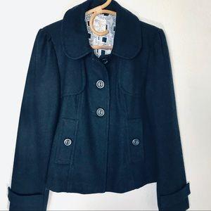 Tulle Navy Wool Blend Pea Coat Size Medium
